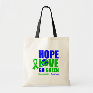 Hope Love Go Green Earth Canvas Bags