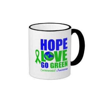 Hope Love Go Green Earth Coffee Mugs