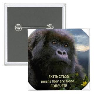 """""""HOPE"""" Mountain Gorilla anti Extinction Button"""