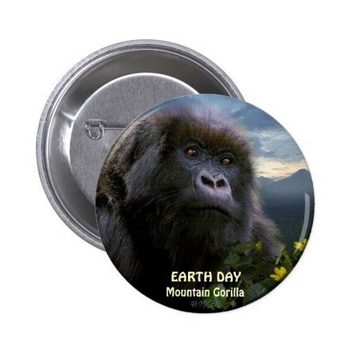 """""""HOPE"""" Mountain Gorilla EARTH DAY Button"""