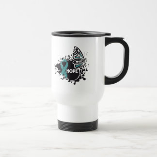 Hope Ovarian Cancer Butterfly Stainless Steel Travel Mug