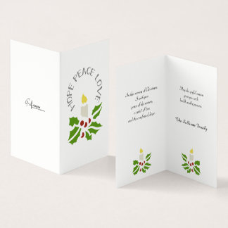 Hope, Peace, Love Minimalist Holly and Candle Card