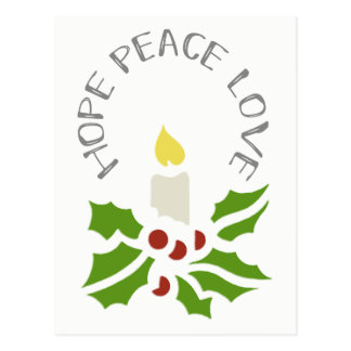 Hope, Peace, Love Minimalist Holly and Candle Postcard