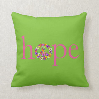 Hope & Peace Sign Floral on Lime Green Cushions