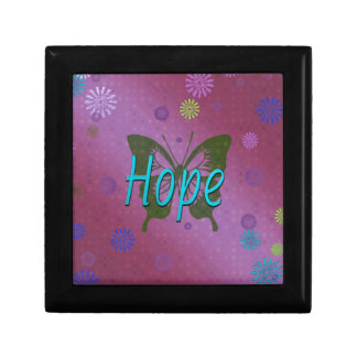 Hope pink keepsake box with butterfly