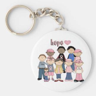 Hope Pink Ribbon Basic Round Button Key Ring