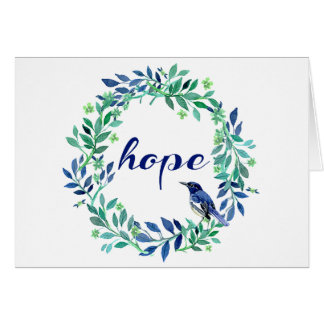 """""""Hope"""" Quote With Bird And Wreath Card"""