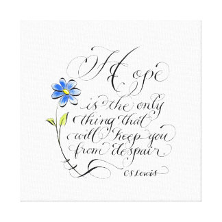 Hope typography Inspirational Quote Canvas Print