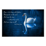 Hope, White Swan on Blue Waters Poster
