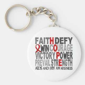 Hope Word Collage AIDS Key Chain