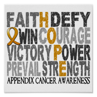 Hope Word Collage Appendix Cancer Posters