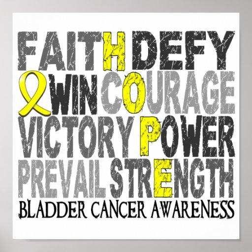 Hope Word Collage Bladder Cancer Poster