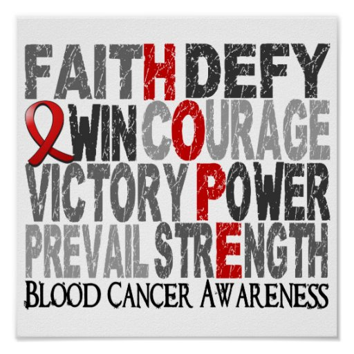 Hope Word Collage Blood Cancer Posters