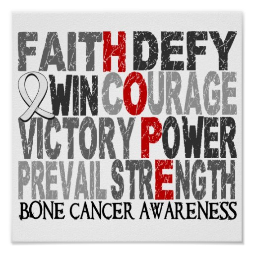 Hope Word Collage Bone Cancer Poster