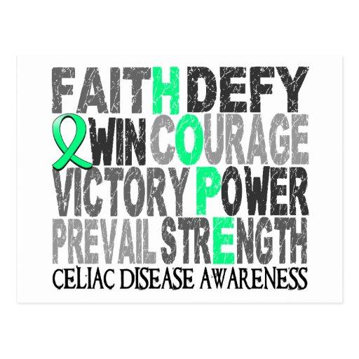 Hope Word Collage Celiac Disease Postcard