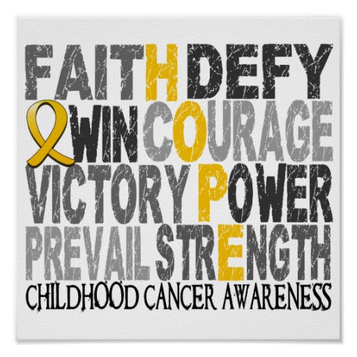 Hope Word Collage Childhood Cancer Posters