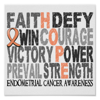 Hope Word Collage Endometrial Cancer Posters