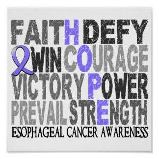 Hope Word Collage Esophageal Cancer Poster