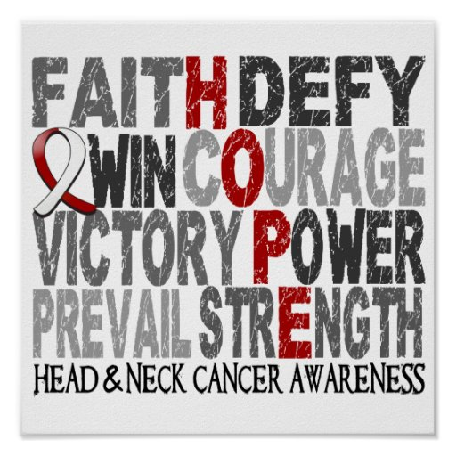 Hope Word Collage Head Neck Cancer Posters