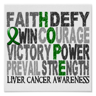 Hope Word Collage Liver Cancer Poster