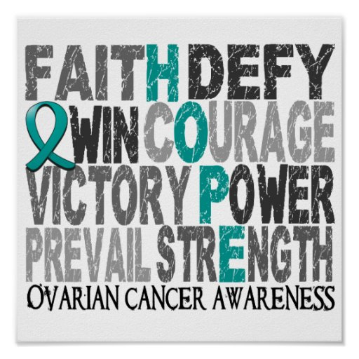 Hope Word Collage Ovarian Cancer Poster
