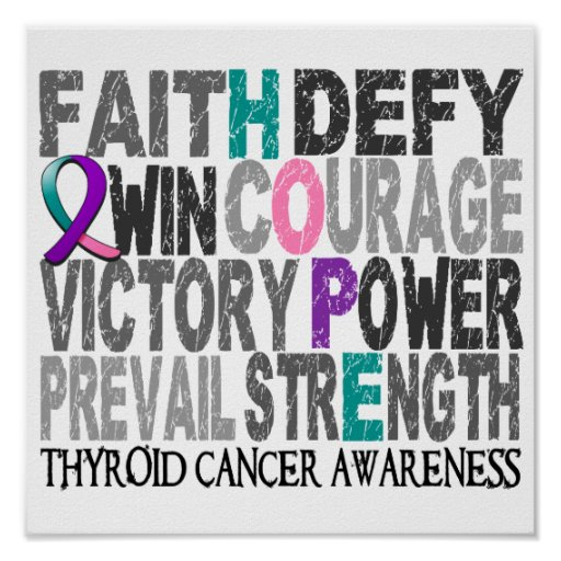 Hope Word Collage Thyroid Cancer Print
