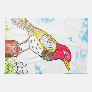 Hopeful bird tea towel