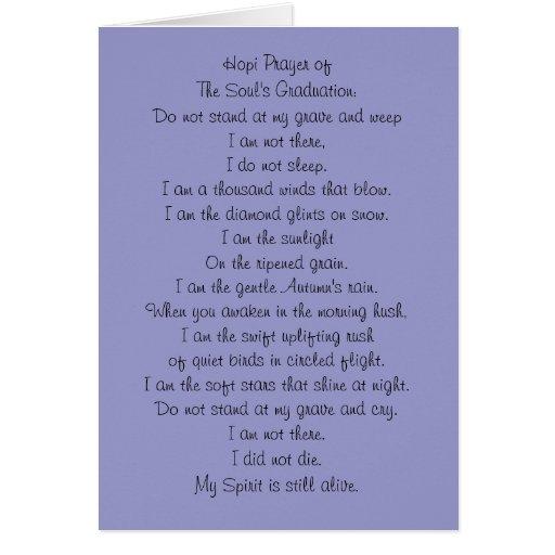 Hopi Prayer - Memorial Card