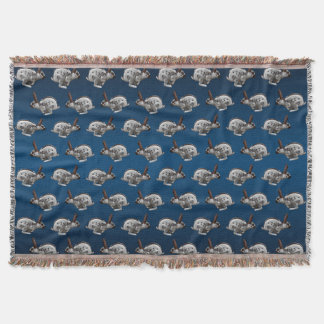 Hopping Along Frenzy Throw Blanket (Navy/Blue Mix)