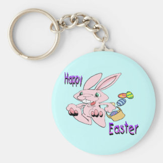 Hopping Easter Bunny Basic Round Button Key Ring