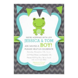 Hopping with Joy Frog Boy Baby Shower Invitation