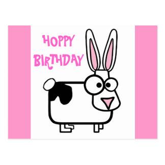 Hoppy Birthday Funny Silly Cartoon Bunny Rabbit Postcard