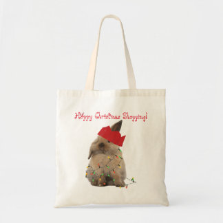 Hoppy Christmas Shopping Bunny Tote Budget Tote Bag