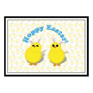 HOPPY EASTER!  Baby Chicks w/Bunny Ears Business Card Templates