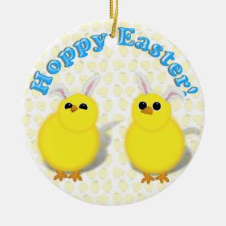 HOPPY EASTER!  Baby Chicks w/Bunny Ears Christmas Tree Ornaments