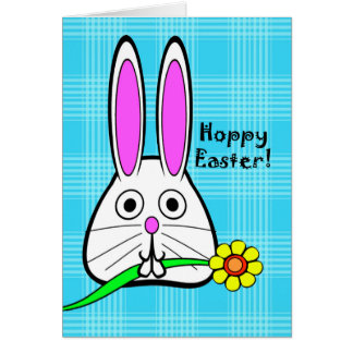 Hoppy Easter, Cute Bunny with Flower Greeting Card