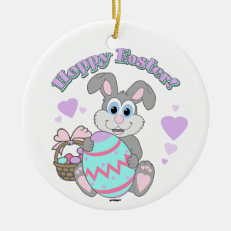 Hoppy Easter! Easter Bunny Round Ceramic Decoration