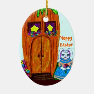 HOPPY EASTER, MS. BUNNYS CARROT HOUSE ornament