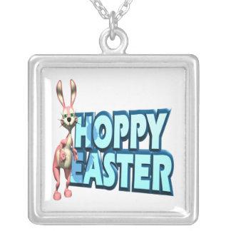 Hoppy Easter Square Pendant Necklace