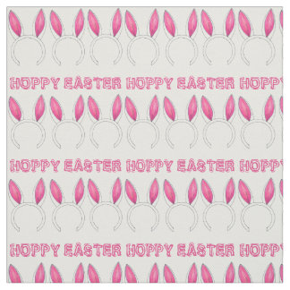 Hoppy Easter Pink Bunny Rabbit Ears Fabric