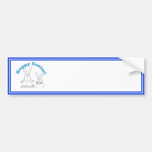 Hoppy Easter Snow Bunnies (Blue Text) Bumper Stickers