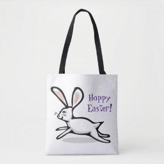 Hoppy Easter White Rabbit Tote