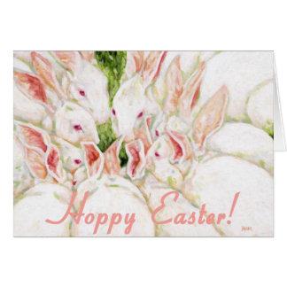 Hoppy Easter - White Rabbits Card
