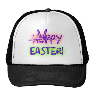 Hoppy Easter With Bunny Face & Ears Mesh Hats