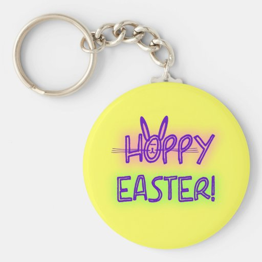 Hoppy Easter With Bunny Face & Ears Keychains