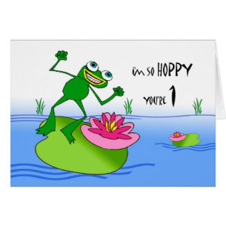 Hoppy First Birthday Funny Frog at Pond Cards