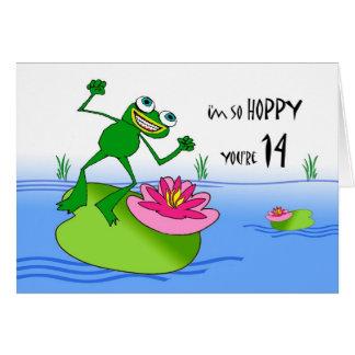 Hoppy Fourteenth 14th Birthday, Funny Frog at Pond Cards