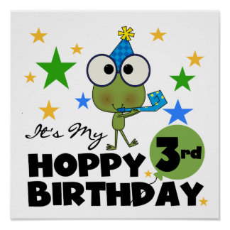Hoppy Frog 3rd Birthday Tshirts and Gifts Poster