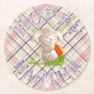 Hoppy Happy Easter Bunny Stripes And Plaid Pattern Round Paper Coaster