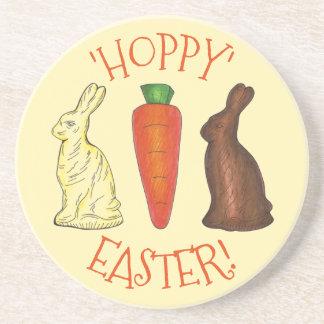Hoppy Happy Easter Chocolate Bunny Rabbit Carrot Coaster